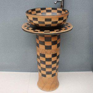 RYXW057 Engraved design Ceramic Pedestal Lavatory Basin