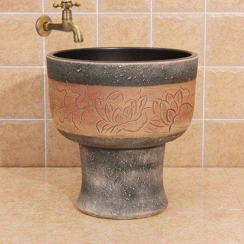 Beautiful Ceramic Wash Mop Sink Easy To Clean Jingdezhen