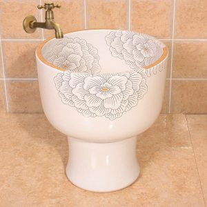 Flower design Ceramic mops pedestal washbasin for hardwood floors