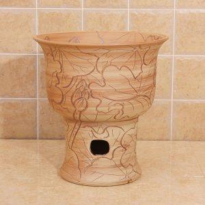 Engraved flower design Ceramic mops washbasin for hardwood floors