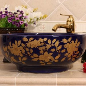 Ceramic Bathroom Sink/ Wash basin Blue gold leaf design