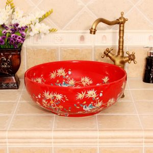 Bamboo and bird design, red, white, yellow blue color Ceramic Bathroom Sink