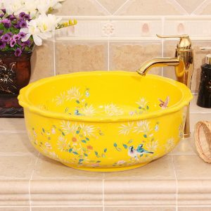 RYXW254 Bamboo bird design Ceramic Bathroom Sink