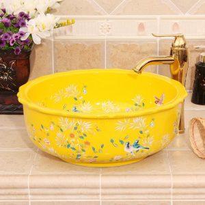 RYXW254 Bamboo bird design Ceramic Bathroom Sink