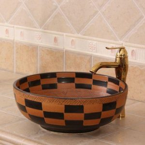 RYXW273 Carved tartan design Ceramic Bathroom Sink
