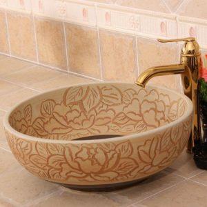 RYXW274 Carved matte flower design Ceramic Bathroom Sink