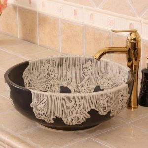 RYXW275 Carved Chinese Character design Ceramic Bathroom Sink
