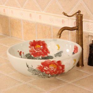 Hand painted flower design Ceramic Bathroom Sink