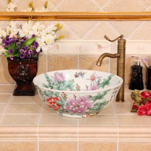 RYXW311 White floral design Ceramic Bathroom Sink