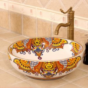 RYXW317 Multi-color design Jingdezhen Ceramic Bathroom Wash basin