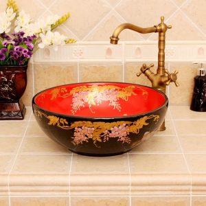 RYXW318 Black red floral design Jingdezhen Ceramic Bathroom Wash basin