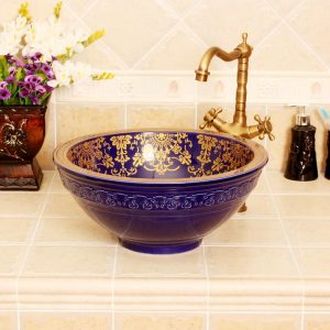 RYXW320 Blue gold floral design Jingdezhen Ceramic Bathroom Wash basin