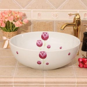RYXW321 White with red flower design Jingdezhen Ceramic Bathroom Wash basin