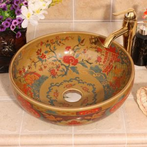 Jingdezhen Ceramic sanitary ware china colored bathroom sink