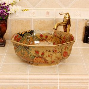 RYXW343 Jingdezhen Ceramic sanitary ware china 8 sided colored bathroom sink