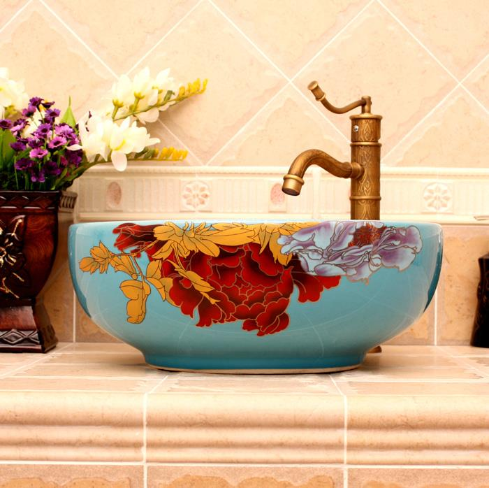 5 Colored With Floral Butterfly Design Ceramic Colored