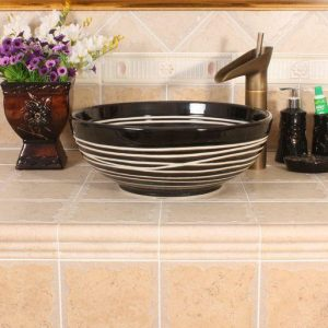 RYXW380/386 Modern black white stripe design Ceramic sink for bathroom