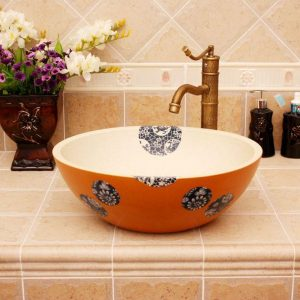 Modern floral design Ceramic basin for washing clothes