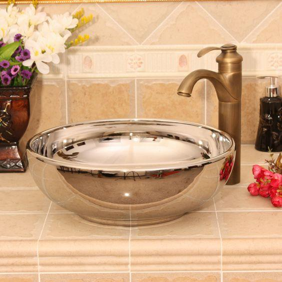 Ryxw388 16 modern silver plated ceramic wash basin india for Modern wash basin india