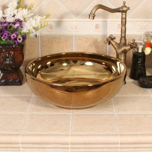RYXW389 16inch Modern metal Gold color Ceramic wash basin india