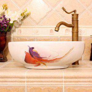 RYXW390 Modern white pattern design Ceramic outdoor sink