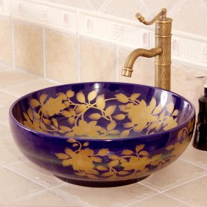 RYXW410 Flower design Ceramic outdoor sink
