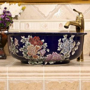 blue red and black with Flower design Ceramic flower wash basin