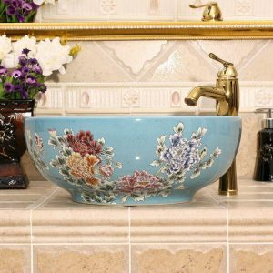5 solid colors with Flower design Ceramic bathroom cabinet sink