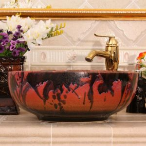 RYXW452 Transmutation color glazed Ceramic hand wash basin