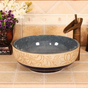 RYXW464 Inside glazed with carved floral design Ceramic hair salon wash basins
