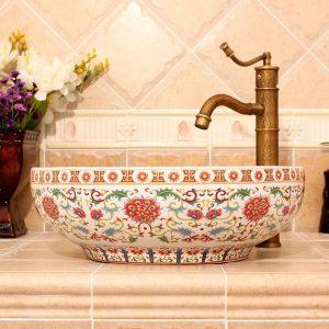 RYXW480 Floral design Ceramic hair salon wash basins