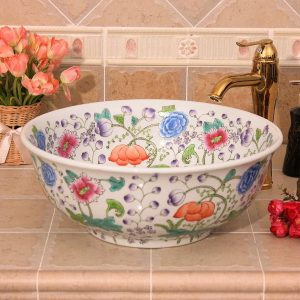 Floral design Ceramic bathroom corner sink