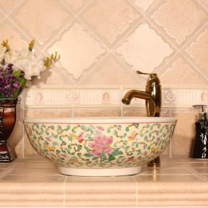 Cream red blue and yellow Floral design Ceramic bathroom corner sink