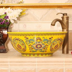 RYXW488 Yellow Floral design Ceramic bathroom corner sink