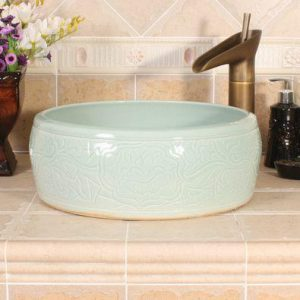 RYXW525 Celadon carved with flower design bathroom basin