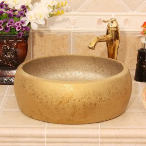Matte gold flower design bathroom basins