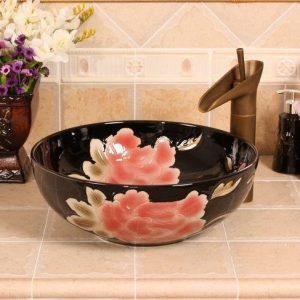 RYXW541 Black with carved pink flower design bathroom basins