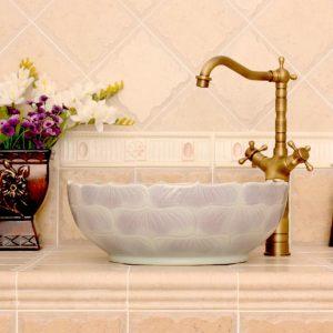 RYXW542 Lotus shape with carved lotus design bathroom fancy wash basin