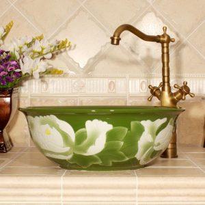 Color glazed with carved flower 3 design bathroom fancy wash basin