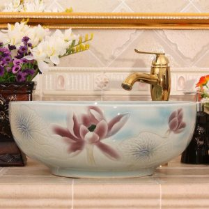 RYXW546 Color glazed with carved flower design bathroom sanitaryware