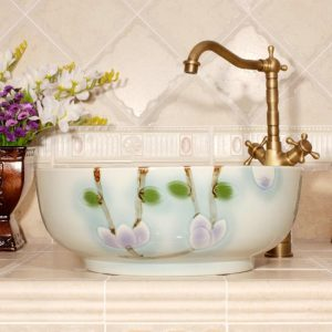 RYXW548 Carved flower design bathroom sanitary ware