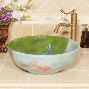 RYXW549 Fish design ceramic sinks for small bathroom