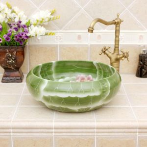 Green pink lotus design ceramic sinks for small bathroom