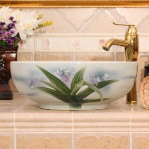 RYXW552 Flower design ceramic small vessel sinks