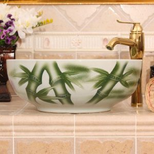 RYXW554 Bamboo design ceramic vessel sink