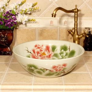 RYXW559 Flower design Ceramic enameled kitchen sink