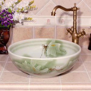 RYXW560 Flower design Ceramic washbasin