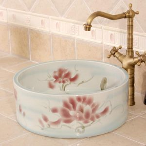 RYXW561 Flower design Ceramic garden outdoor sink