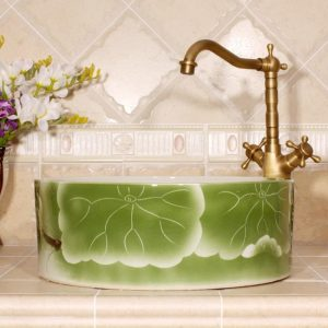 RYXW563 Flower design bathroom ceramic sink