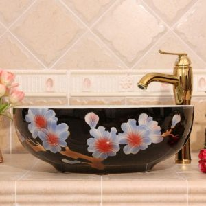 RYXW564 Flower design bathroom ceramic sink